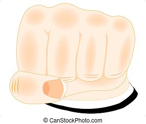 Fist of the person on white