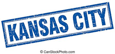 Kansas City blue square grunge stamp on white