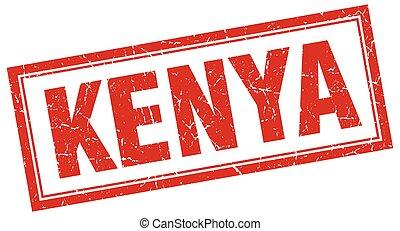 Kenya red square grunge stamp on white