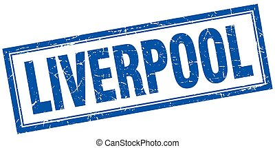 Liverpool blue square grunge stamp on white