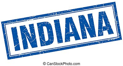 Indiana blue square grunge stamp on white
