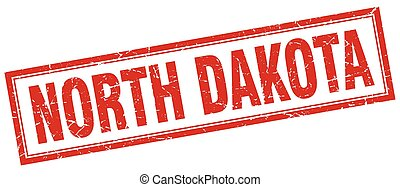 North Dakota red square grunge stamp on white