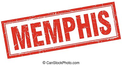 Memphis red square grunge stamp on white