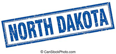 North Dakota blue square grunge stamp on white