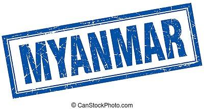 Myanmar blue square grunge stamp on white