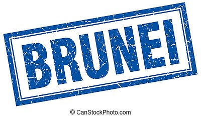 Brunei blue square grunge stamp on white