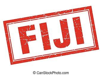 Fiji red square grunge stamp on white