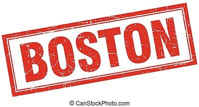 Boston red square grunge stamp on white