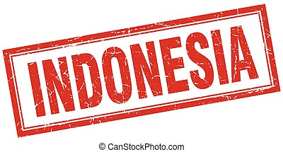 Indonesia red square grunge stamp on white
