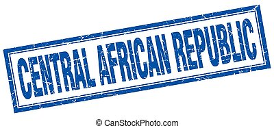 Central African Republic blue square grunge stamp on white