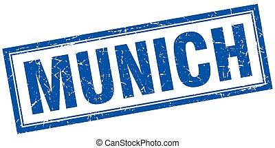 Munich blue square grunge stamp on white