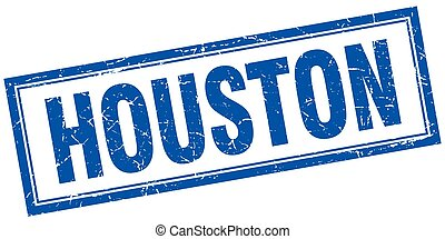 Houston blue square grunge stamp on white