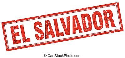 El Salvador red square grunge stamp on white