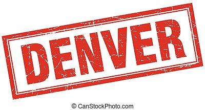 Denver red square grunge stamp on white