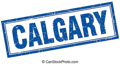 Calgary blue square grunge stamp on white