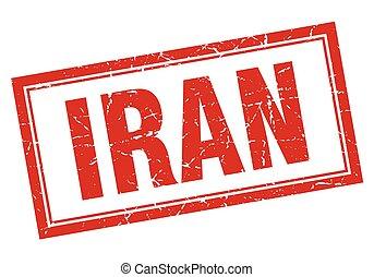 Iran red square grunge stamp on white