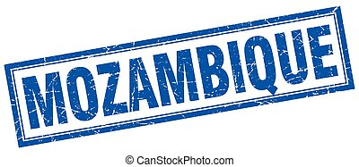Mozambique blue square grunge stamp on white