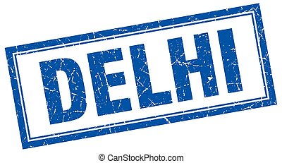 Delhi blue square grunge stamp on white
