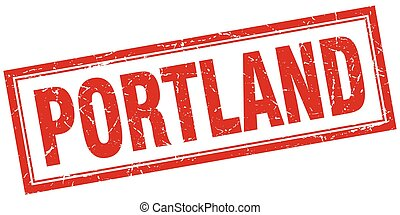Portland red square grunge stamp on white