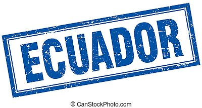 Ecuador blue square grunge stamp on white