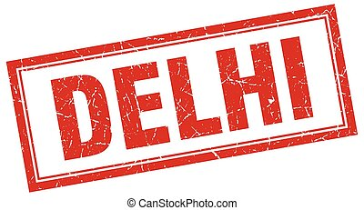 Delhi red square grunge stamp on white