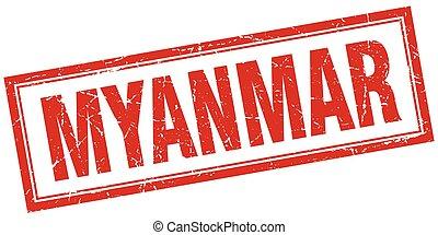 Myanmar red square grunge stamp on white