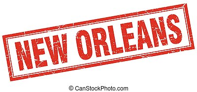 New Orleans red square grunge stamp on white