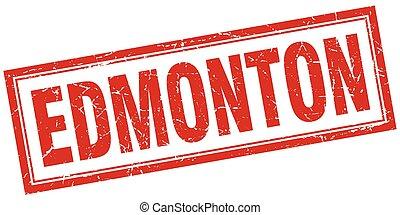 Edmonton red square grunge stamp on white