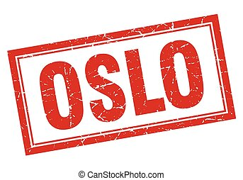 Oslo red square grunge stamp on white