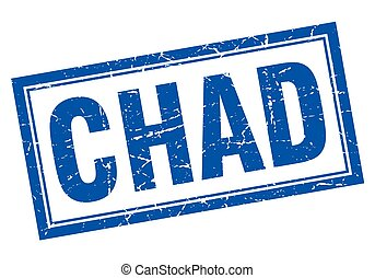 Chad blue square grunge stamp on white