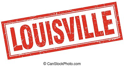 Louisville red square grunge stamp on white