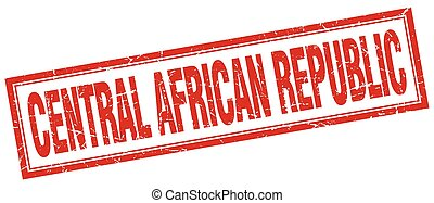 Central African Republic red square grunge stamp on white