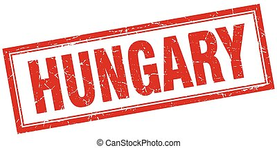 Hungary red square grunge stamp on white