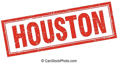 Houston red square grunge stamp on white