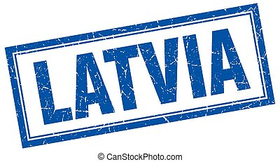 Latvia blue square grunge stamp on white