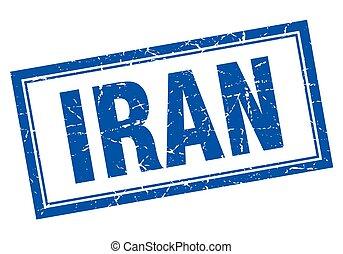 Iran blue square grunge stamp on white