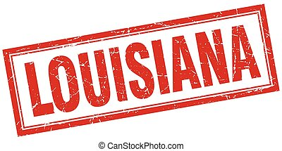Louisiana red square grunge stamp on white