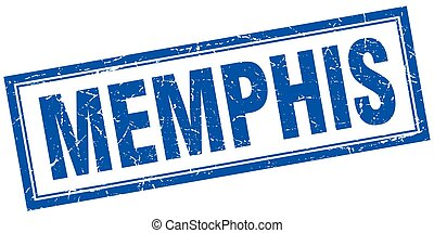 Memphis blue square grunge stamp on white