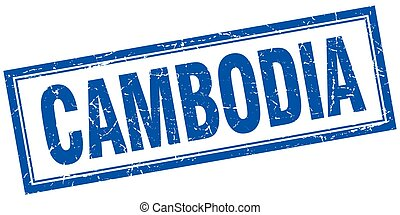 Cambodia blue square grunge stamp on white