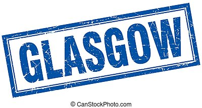 Glasgow blue square grunge stamp on white