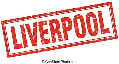 Liverpool red square grunge stamp on white