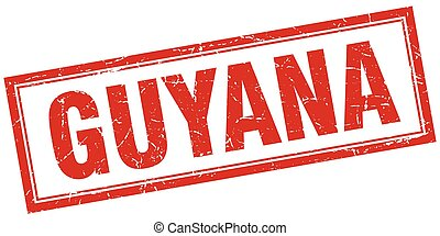 Guyana red square grunge stamp on white