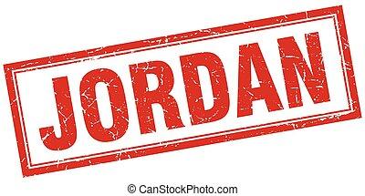 Jordan red square grunge stamp on white