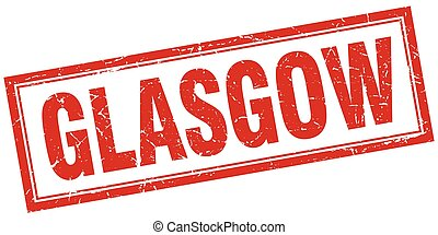 Glasgow red square grunge stamp on white
