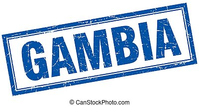 Gambia blue square grunge stamp on white