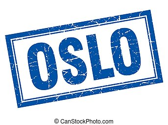 Oslo blue square grunge stamp on white