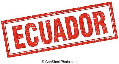 Ecuador red square grunge stamp on white