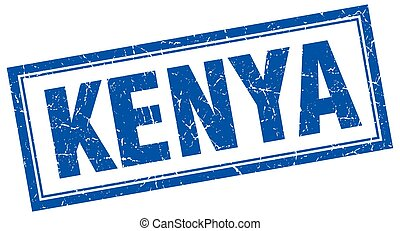Kenya blue square grunge stamp on white