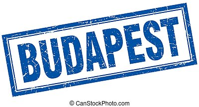 Budapest blue square grunge stamp on white