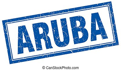 Aruba blue square grunge stamp on white
